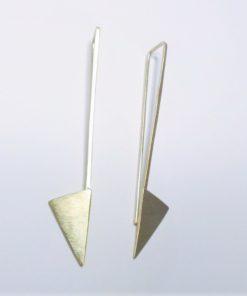 trekantede øreringe, organiske øreringe, kantede, naturlige, lange øreringe, plade øreringe, minimalistisk, øreringe, guld, sølv, unika,