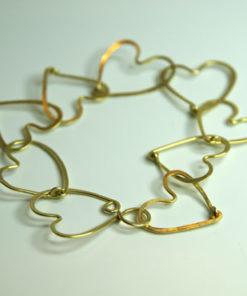 Hjertekæde, unik arkæde, hjerter, sammensat, kærlighedsarmbånd, armlænke af hjerter, usynlig lås, låsdesign, unik, unika