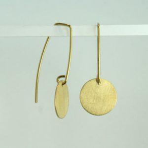 ørering med mønt, ørering med rund plade, minimalistisk