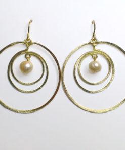 store øreringe, planeter, perler, planetøreringe, krusedulle øreringe, runde øreringe, organiske øreringe, guld, sølv, unika,