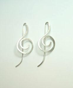 node øreringe, g-nøgle øreringe, musikøreringe, guld, sølv, unika, sjove øreringe, øreringe uden krog