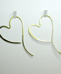 hjerte øreringe, hjerteøreringe, søde øreringe, enkelte øreringe, guld, sølv, unika, øreringe uden krog
