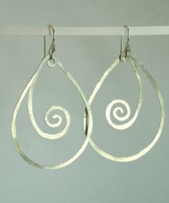 spiral, snoede øreringe, krusedulle øreringe, organiske øreringe, runde, store øreringe, slangeøreringe, unika, sølv, guld, øreringe, krog